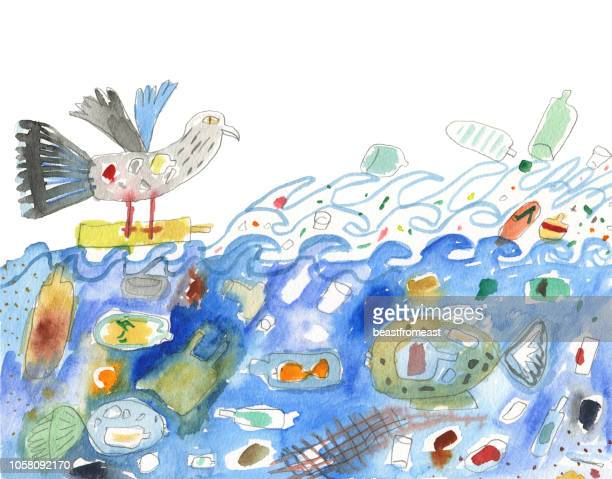 plastic polluted water - water pollution stock illustrations