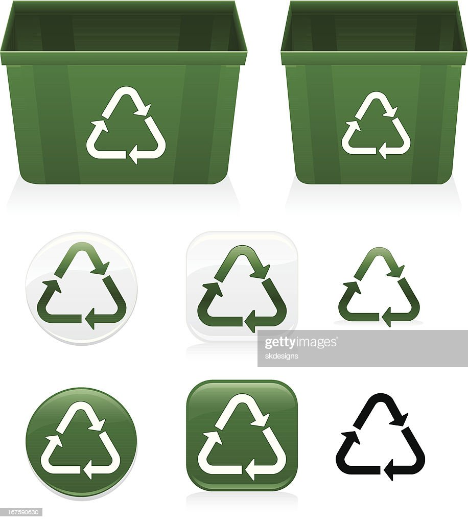 Plastics Recycling Symbol Icons Recycle Bins Set Green White Black