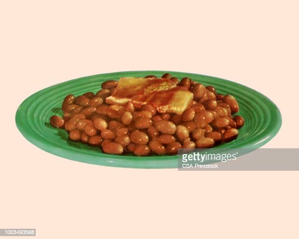 plate of baked beans - bean stock illustrations
