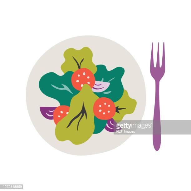 illustrazioni stock, clip art, cartoni animati e icone di tendenza di piatto di insalata fresca sana grande icona vettoriale - fibra