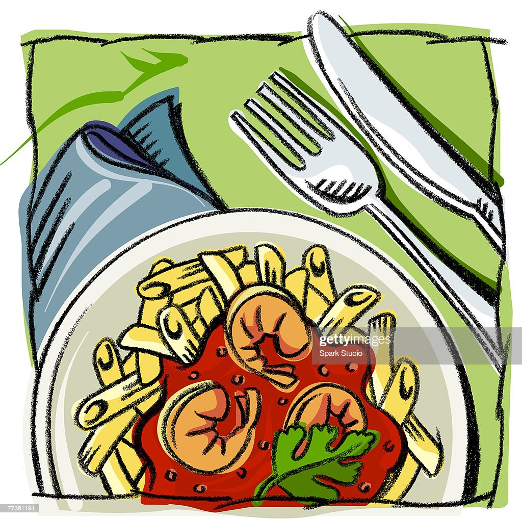 A plate of penne with shrimps : Illustration