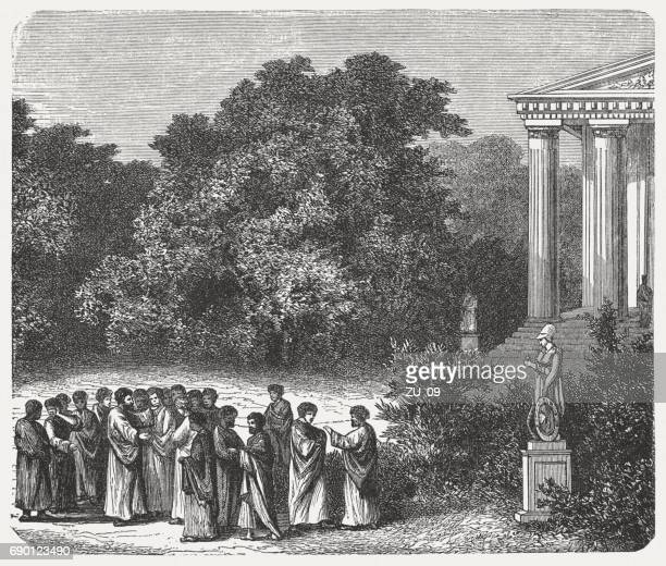 plato and his students in the academy's garden, published 1880 - ancient greece stock illustrations, clip art, cartoons, & icons