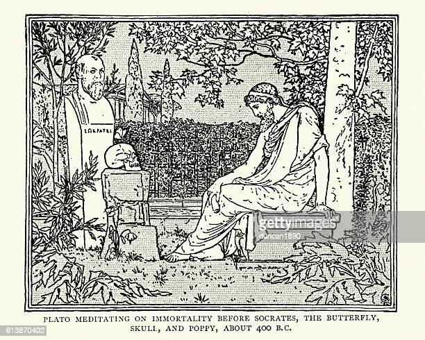 ilustraciones, imágenes clip art, dibujos animados e iconos de stock de plato meditating on immortality before socrates - filosofos griegos
