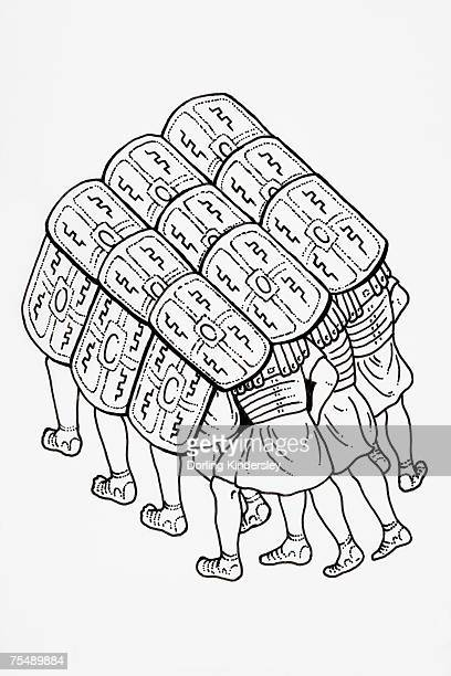 platoon of soldiers formed into a testudo (tortoise), used as protection, head and shoulders covered with their shields allowing safer advance - römisch stock-grafiken, -clipart, -cartoons und -symbole