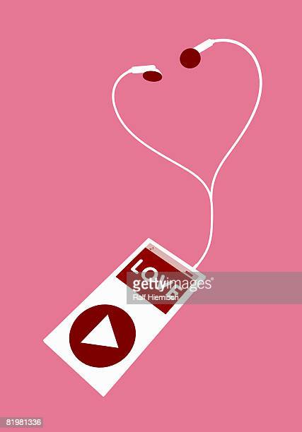 mp3 player with the word ?love? - part of a series stock illustrations