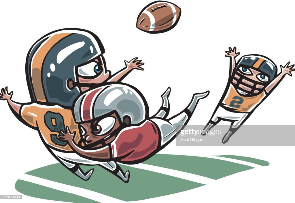 Players playing a game of American Football : Illustration