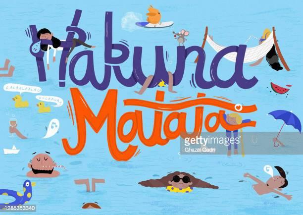 playful hakuna matata sign over kashmiri people swimming - vacations stock illustrations