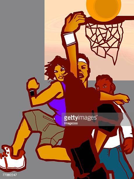 ilustraciones, imágenes clip art, dibujos animados e iconos de stock de playing basketball - educacion fisica