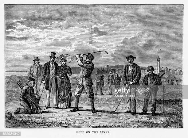 playing the links in st. andrew's, scotland victorian engraving, 1840 - country club stock illustrations, clip art, cartoons, & icons