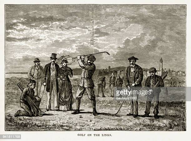 playing the links in st. andrew's, scotland victorian engraving, 1840 - st. andrews scotland stock illustrations