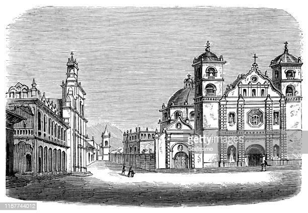 ilustraciones, imágenes clip art, dibujos animados e iconos de stock de plaza de tegucigalpa honduras illustration 1887 - honduras