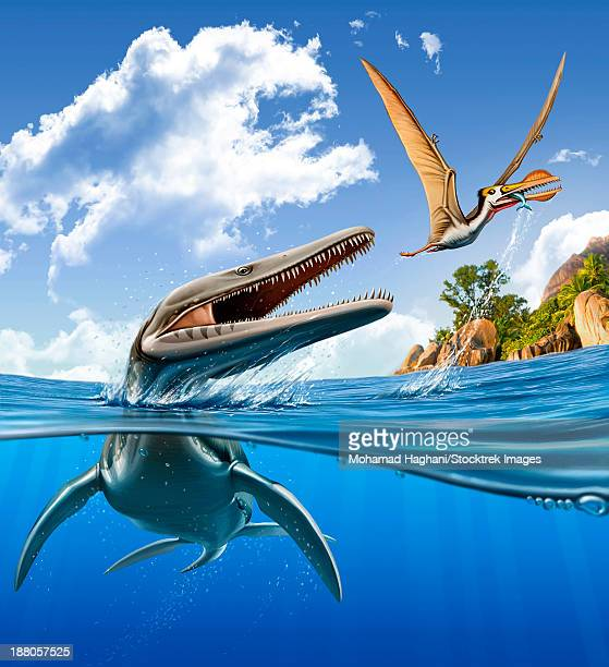 A Plesiopleurodon jumps out of the water, attacking an Ornithocheirus.