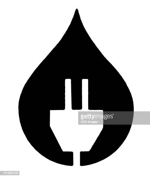 plug in droplet - electric plug stock illustrations