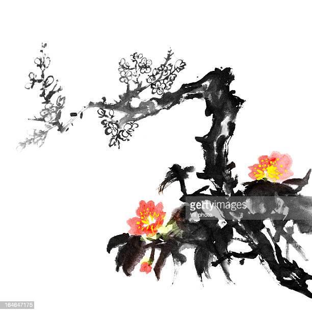 plum blossom flowers - japanese language stock illustrations, clip art, cartoons, & icons