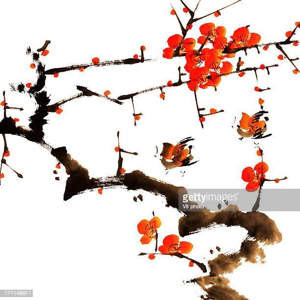 plum blossom - japanese language stock illustrations, clip art, cartoons, & icons