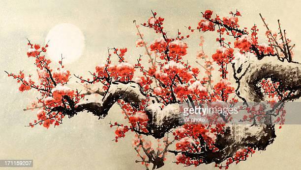 plum blossom - flower moon stock illustrations