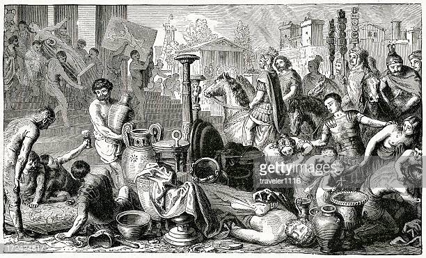 plundering of corinth - greek people stock illustrations, clip art, cartoons, & icons