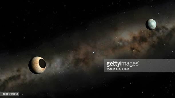 pluto and charon artwork - pluto dwarf planet stock illustrations