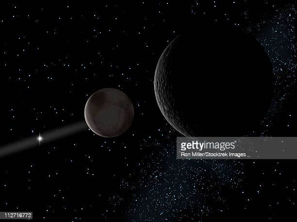pluto and it's moon charon lie at the frontier of the solar system. - pluto dwarf planet stock illustrations