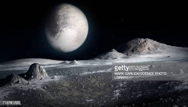 pluto from the surface of charon - pluto dwarf planet stock illustrations