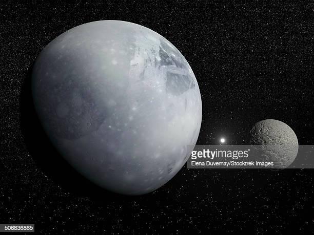pluton, its big moon charon and the polaris star. - pluto dwarf planet stock illustrations