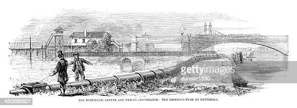 illustrazioni stock, clip art, cartoni animati e icone di tendenza di pneumatici lettera di trasporto e il pacco - industrial revolution