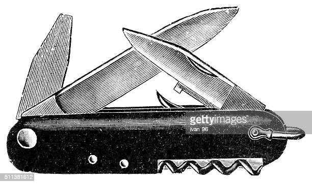 ilustraciones, imágenes clip art, dibujos animados e iconos de stock de navaja de bolsillo - monoimpresión