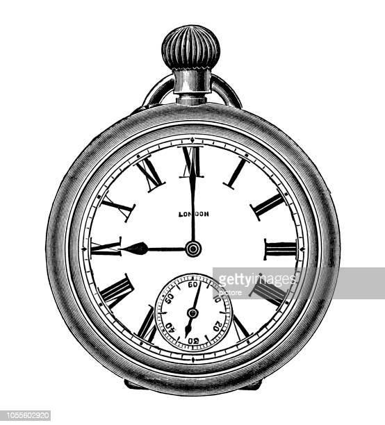 ilustraciones, imágenes clip art, dibujos animados e iconos de stock de reloj de bolsillo plata (xxxl) - reloj de bolsillo