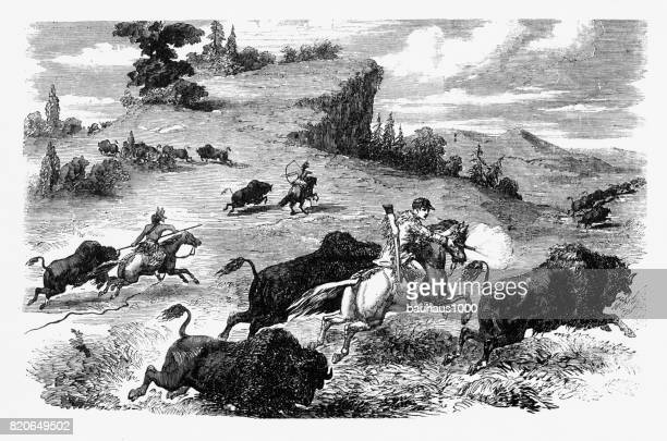 poineers  and american indians hunting bison engraving, 1857 - shooting a weapon stock illustrations, clip art, cartoons, & icons