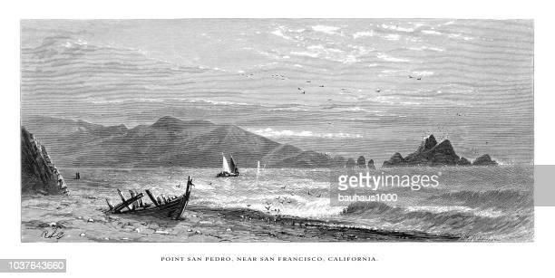 Point San Pedro Near San Francisco on the Coast of California, United States, American Victorian Engraving, 1872
