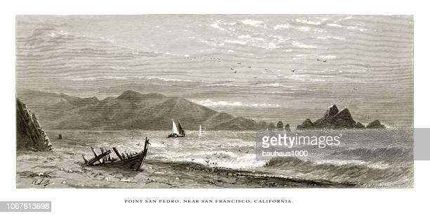 stockillustraties, clipart, cartoons en iconen met punt san pedro in de buurt van san francisco op de kust van californië, verenigde staten, amerikaanse victoriaanse gravure, 1872 - pedo