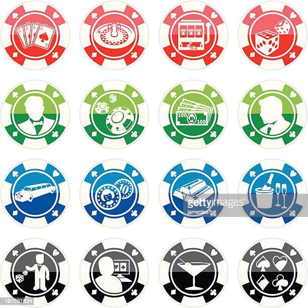 Poker Chip Casino Icon Set