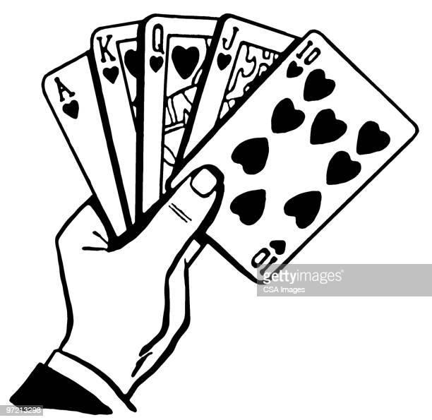 poker hand - ace stock illustrations