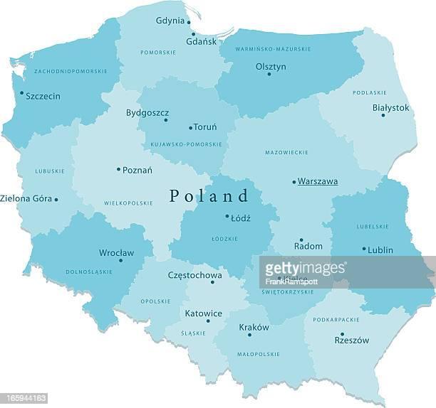 polen vektor-karte regionen isoliert - polen stock-grafiken, -clipart, -cartoons und -symbole