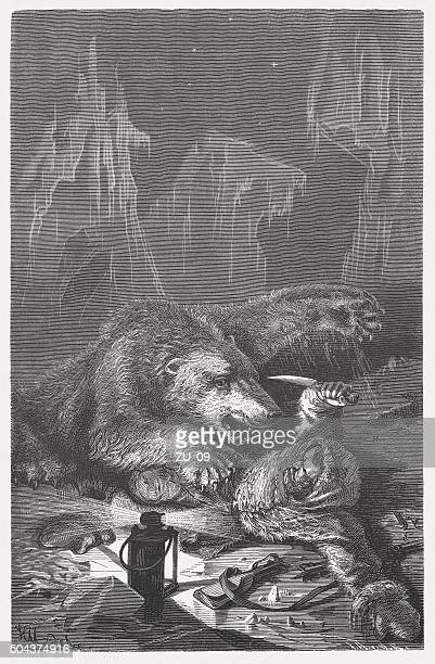 Polar Bear attack, wood engraving, published in 1883