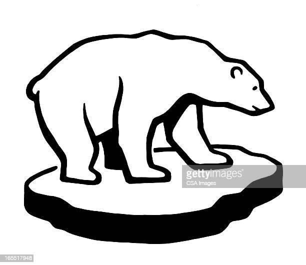 ilustraciones, imágenes clip art, dibujos animados e iconos de stock de polar bear on a chunk of ice - oso polar