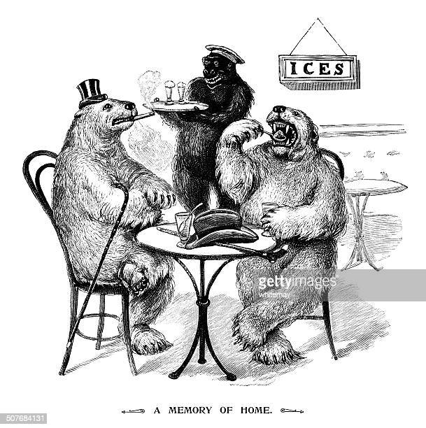polar bears eating ice creams - funny customer service stock illustrations