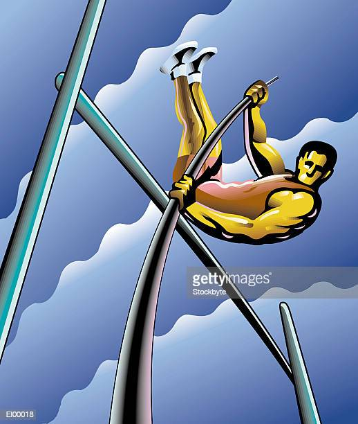 pole-vaulter clearing bar at top of jump - pole vault stock illustrations