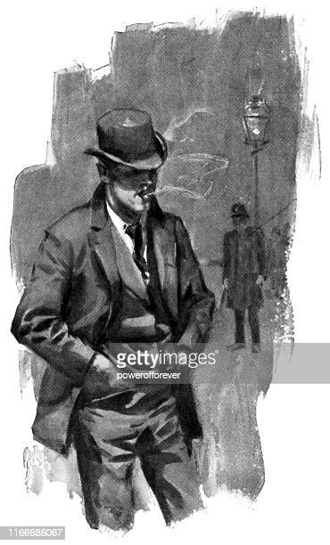police detective on the street in new york city, new york, united states - 19th century - detective stock illustrations