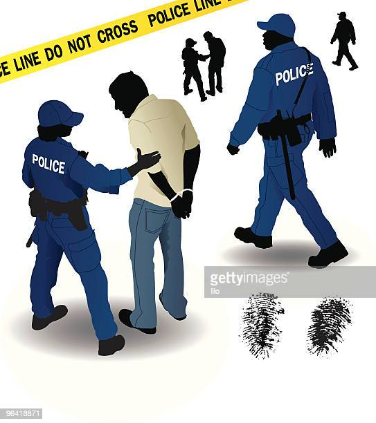 police - arrest stock illustrations, clip art, cartoons, & icons