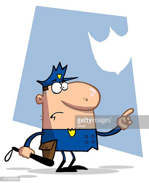 police man pointing and holding a club - uniform stock illustrations