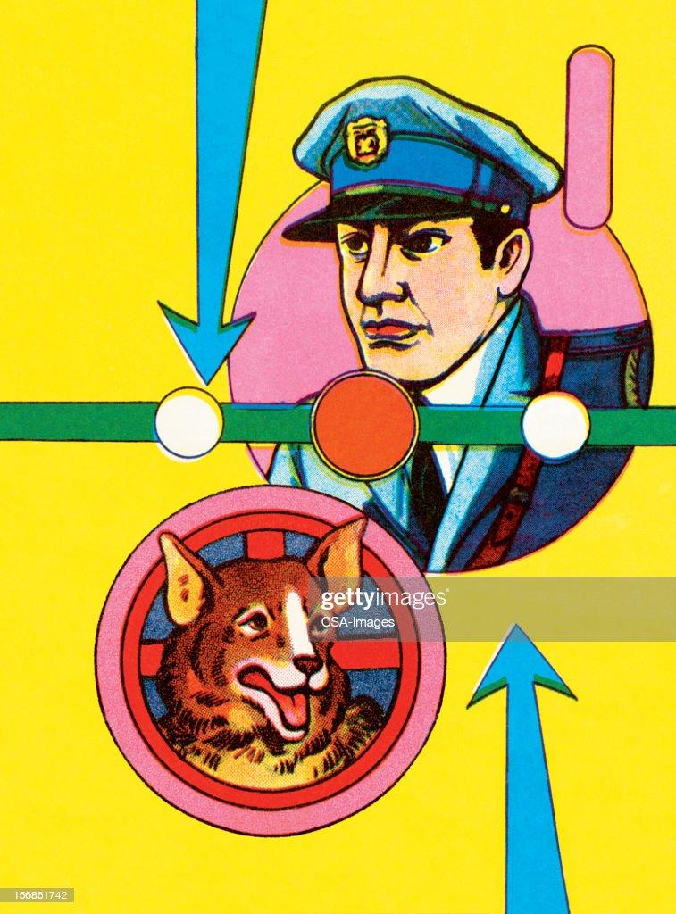 Policeman and K-9 : stock illustration