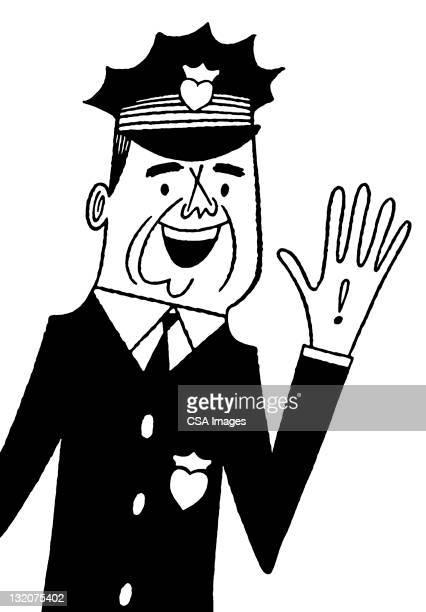 Policeman Holding up Hand