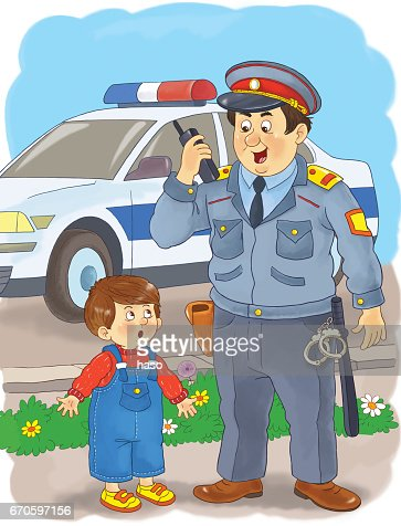 A Policeman Professions Illustration For Children Coloring Page ...