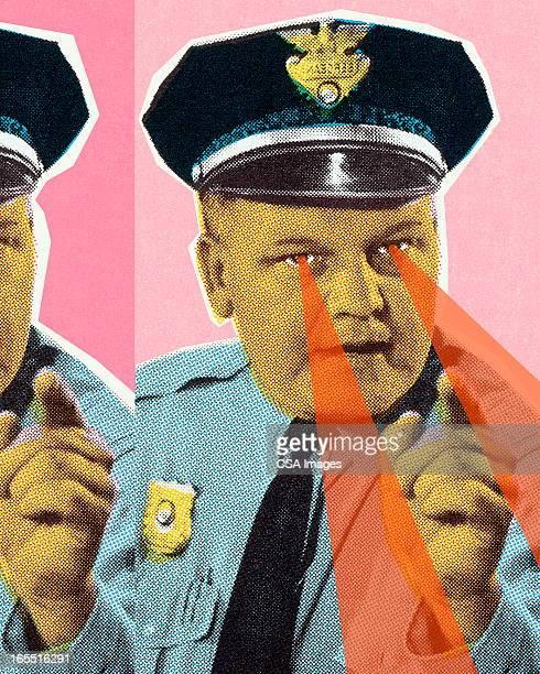ilustraciones, imágenes clip art, dibujos animados e iconos de stock de policeman con perforación de ojos - un solo hombre
