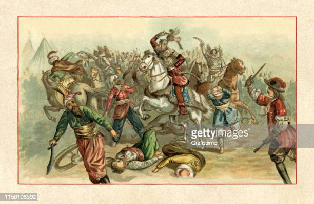 polish king jan sobiesky liberating vienna from the turkish army in 1683 - ottoman empire stock illustrations