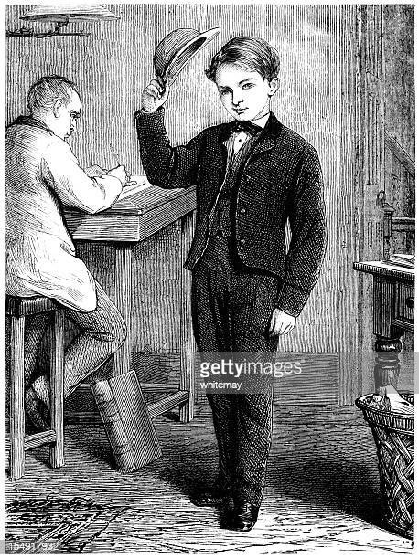 polite victorian boy raising his hat - school uniform stock illustrations, clip art, cartoons, & icons