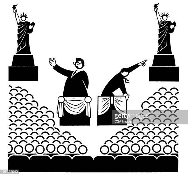 political debate - statue of liberty stock illustrations