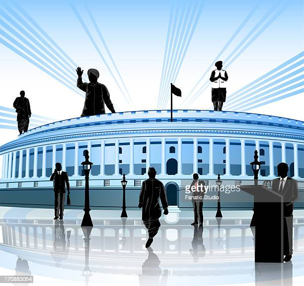 political leaders around a government building, sansad bhawan, new delhi, india - india politics stock illustrations
