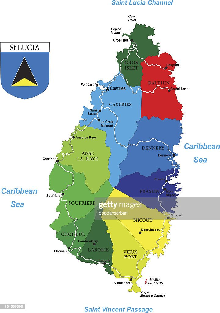 Political map of the caribbean island-Saint Lucia